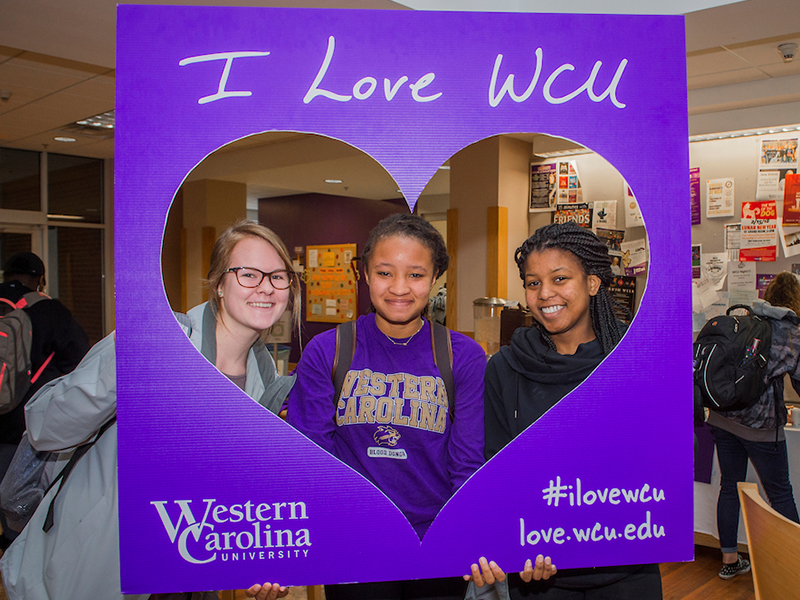 Students supporting WCU during I Love WCU month's giving campaign