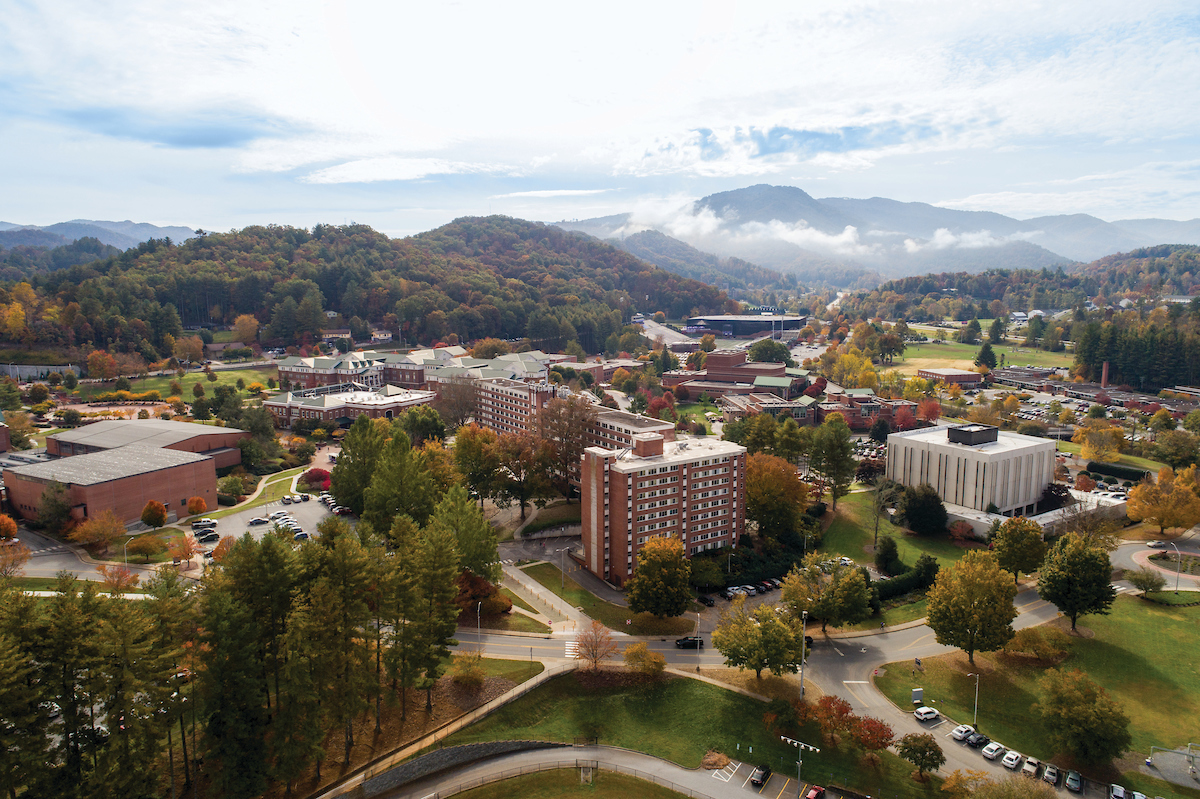 Aerial of campus with the Scott and Walker Residence Halls