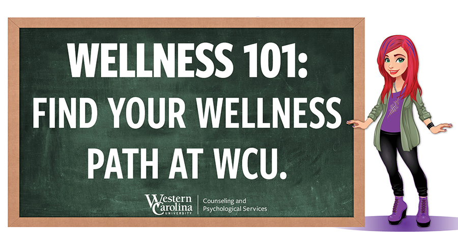 How are you taking care of yourself? Written on a chalkboard: Find Your Wellness Path at Caps.Wcu.Edu