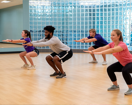 Students in a workout class