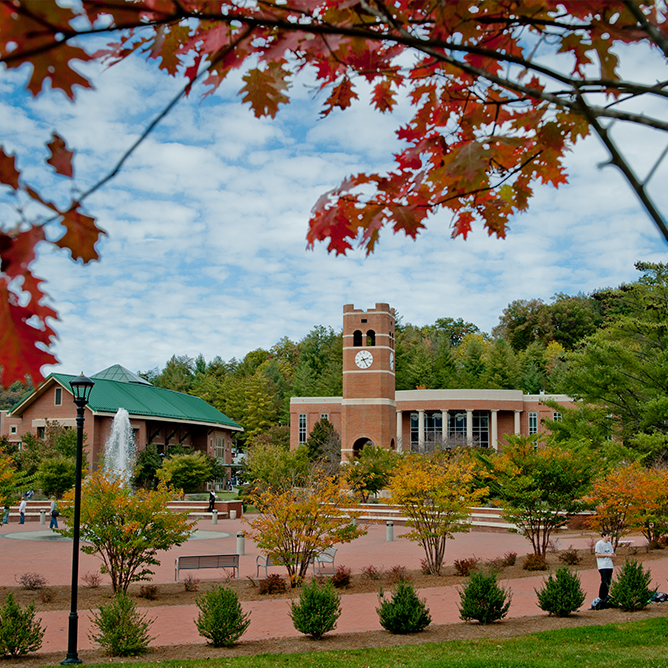 A view of the center of campus in the fall