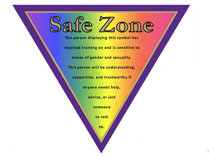 "Safe Zone sign: an inverted triangle with rainbow colors displaying ""Safe Zone: The person displaying this symbol has received training on and is sensitive to issues of gender and sexuality. This person will be understanding, supportive and trustworthy if anyone needs help, advice or just someone to talk to."