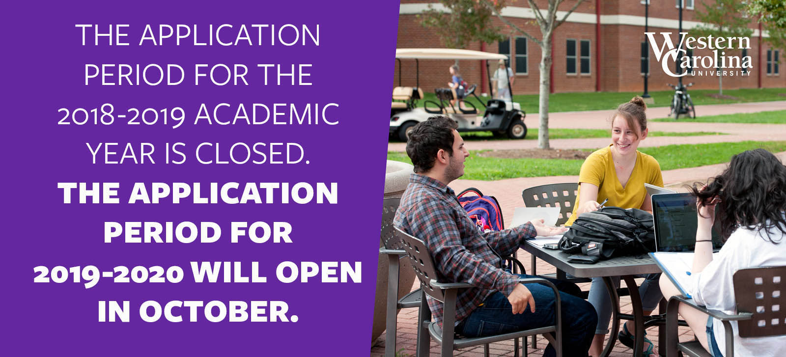 The application period for the 2018-2019 acadmeic year is closed. The application period for 2019-2020 will open in october.