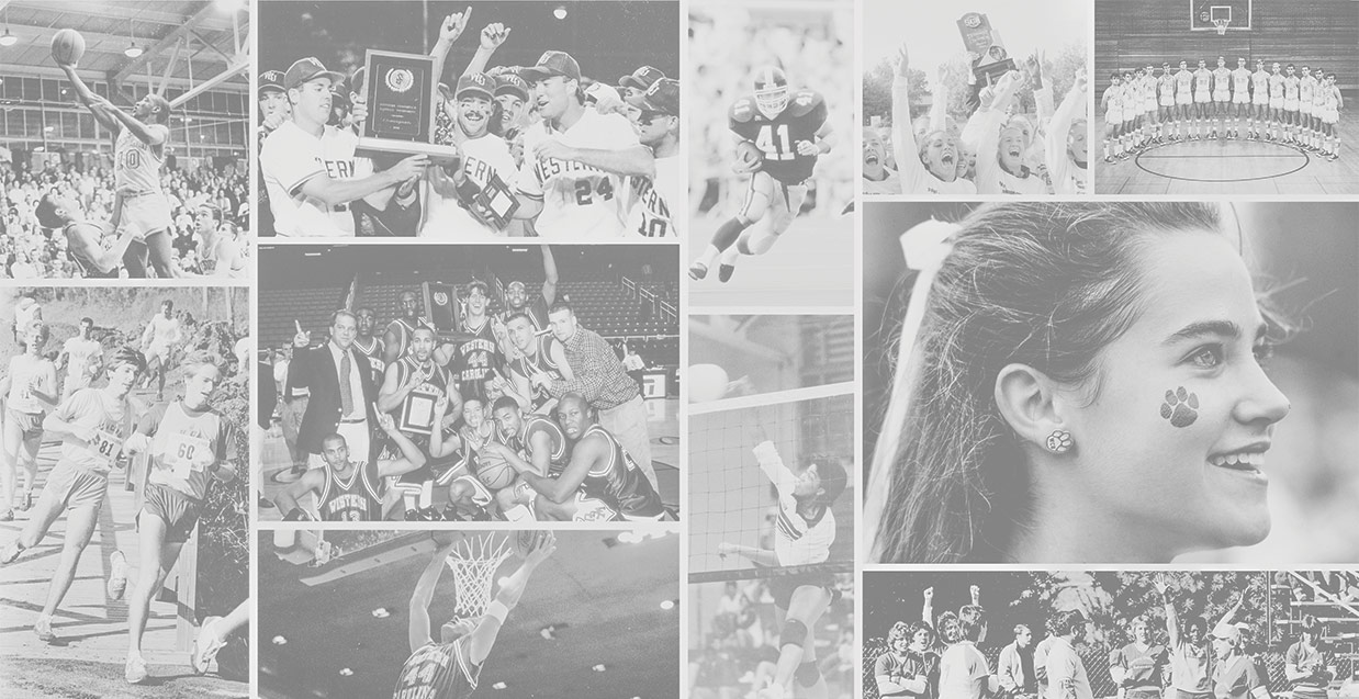 Black and white photos of WCU athletes