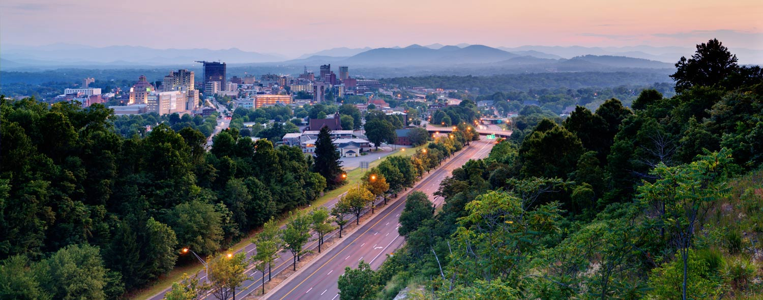 View of Asheville NC with mountains in the background