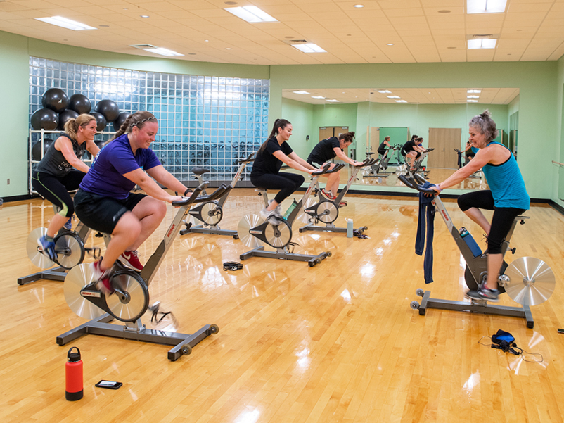 a group of students participating in an exercise class