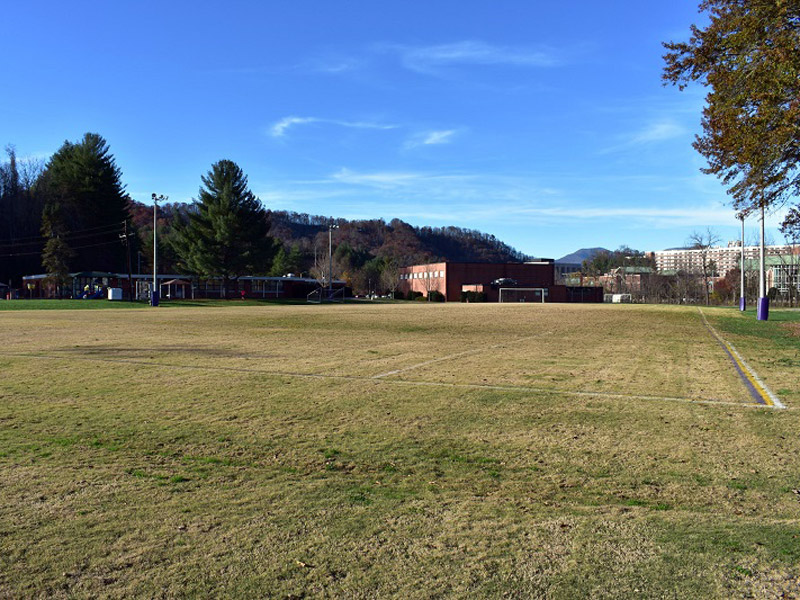 photo of a soccer field on campus